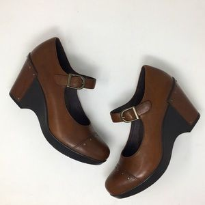 Dansko Shoes Fanny Mary Janes Stud Brown Leather 9